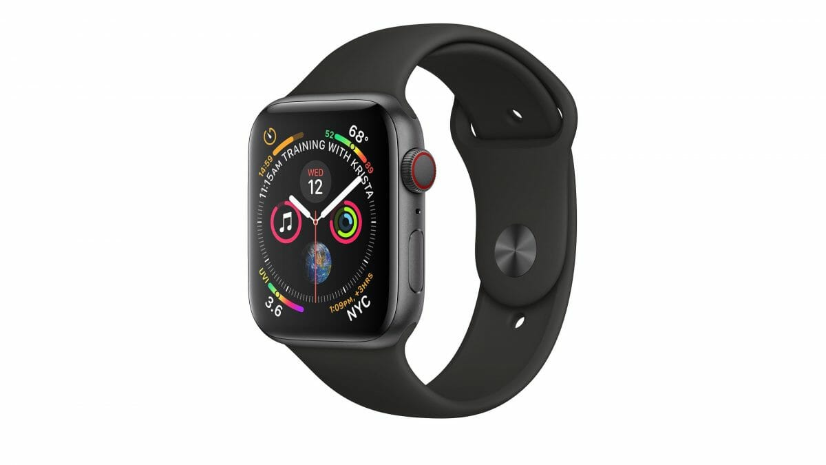 Apple Watch 4 in Space Gray Aluminum and Black Sport Band